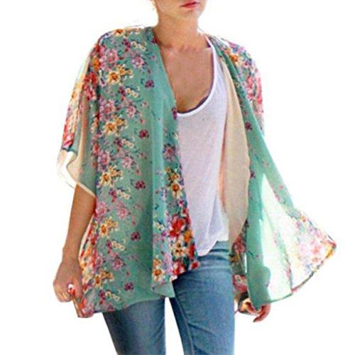 Cardigan Haut pour Femmes, Toamen Boho imprimé floral Kimono en mousseline de soie Mode du quotidien Confortable (S, Bleu)