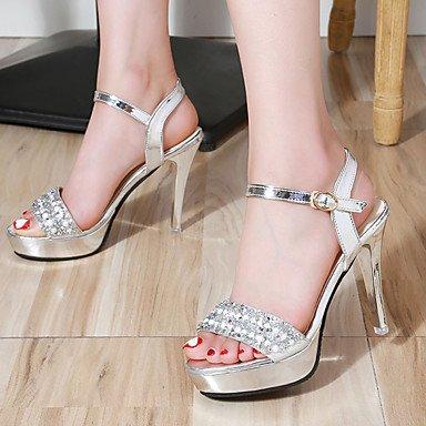 LvYuan Da donna Sandali PU (Poliuretano) Estate Formale Perle Fibbia A stiletto Nero Argento 5 - 7 cm Silver