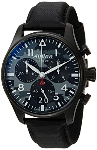 Alpina Men's 'Startimer' Swiss Quartz Stainless Steel and Leather Casual Watch, Color Black (Model: AL-372BMLY4FBS6)