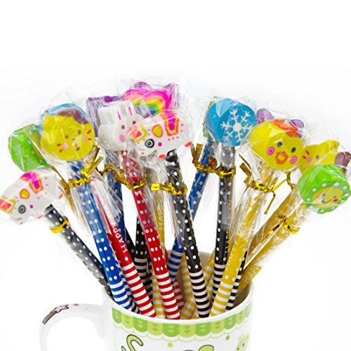 Set matita del fumetto, Attiant 40 Pcs matita in legno con gomma matite grafite colorate con gomme, Materiale Scolastico Regalo dei Bambini, for festa di compleanno bambini party Festival - 7