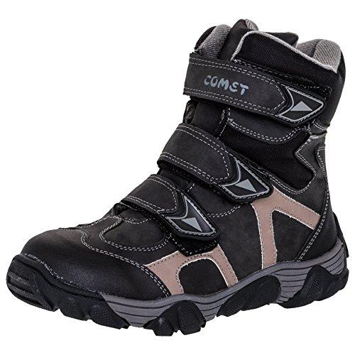 Gefütterte Jungen Stiefel mit Klettverschluss und Reißverschluss #122sw Schwarz