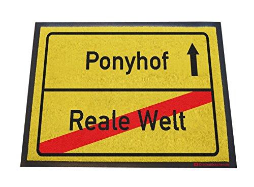 Dreckstückchen wash&go mit Aufdruck: Ponyhof - Reale Welt, robuste Schmutzfangmatte, maschinenwaschbar bei 40 Grad