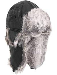 BRUBAKER - Casquette d`aviateur - Chapka aviateur similicuir - taille unique - Noir