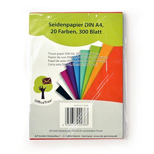 confronta il prezzo Carta velina OfficeTree® 300 fogli formato A4 - 20 colori - tanto divertimento nel bricolage, nel decorare, nel disegnare, nel tagliare - 16 g/m2 qualità premium miglior prezzo