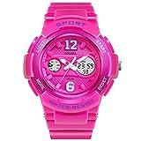 PIO Sehen Sie Plastikmaterial-Multifunktionssport-Zeit-Wasserdichte KalenGDEr-Damen-Quarz-Uhr an, Pink