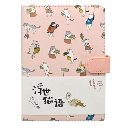 Meliya 32K Creative Cute Cat Notizbuch, PU-Leder, Cover Tagebuch Magnetverschluss Schreiben Notebook Tagebuch mit 256Cartoon Katzen Seiten Einheitsgröße rose (Rosa Journal Linierte Seiten)