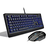 Mechanical Gaming Keyboard, TeckNet LED Illuminated Backlit Gaming Keyboard [Plus a Gaming Mouse], Full Size 104 keys Anti-ghosting with Black Switch, Water-Resistant Design, UK Layout