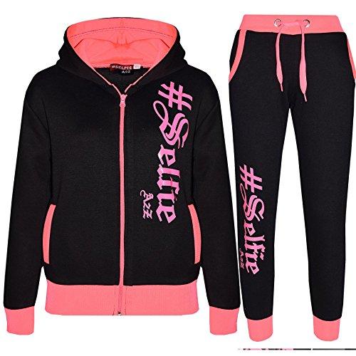 A2Z 4 Kids® Kinder Trainingsanzug Jungen Mädchen Designer #Selfie Aufdruck - T.S Selfie 002 Black & Neon Pink 5-6