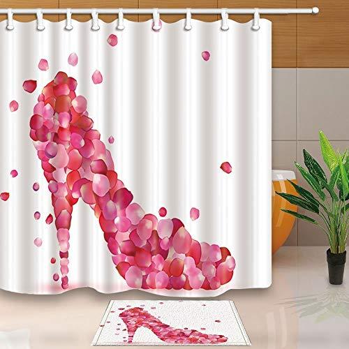 gohebe Fashion Frau Decor High Heels Schuh Full mit Pink Rosenbl?tter 180x180cm Polyester Stoff Vorhang f¨¹r die Dusche Anzug mit 39,9x59,9cm Flanell rutschfeste Boden Fu?matte Bad Teppiche -