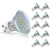 LOHAS® No-Regulable 3.5Watt GU10 LED Bombillas, Equivalente a 50Watt Lámpara Incandescente, 18 LED 2835 SMD Foco Luz Blanca Neutra 4000K, 380lm, 120 ° ángulo de haz, Ultra Brillante LED Bombillas, Paquete de 10 Unidades
