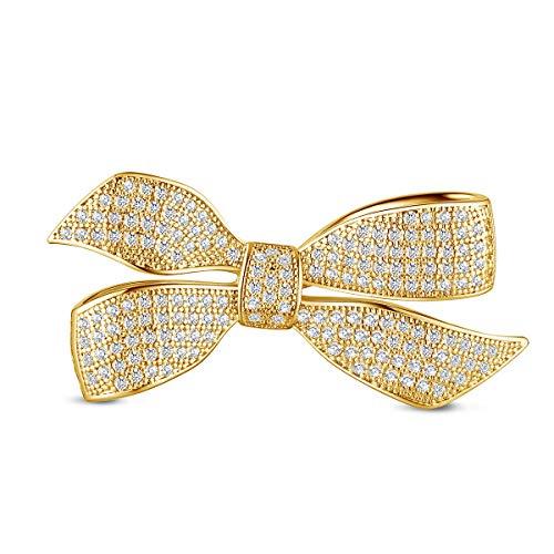 SHEGRACE Damen Bowknot Broschen aus Kupfer Platin Rotgold 18 Karat Vergoldet + 3A Zirkonia Brosche, Wiederverwendbar