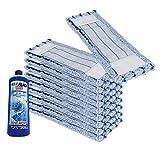 10x WISCHMOP MIKROFASER ERSATZMOP BODENWISCHER EXTRA FÜR LAMINAT 50CM BLUE (1L LAMINAT GLANZREINIGER GRATIS)