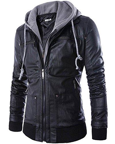 Hombre Multipurpose Chaqueta con Capucha Cuero de Imitación Negro M