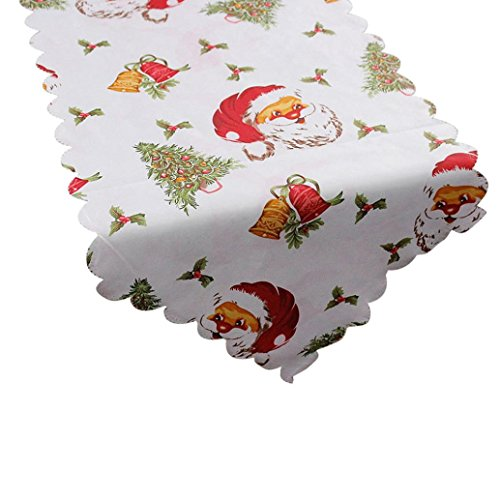 Prevently Brand Happy Bright Color New Fashion Decorative Christmas Santa Claus Tapestry Poinsettia Fabric Table Runner 14x71 Inch (B)