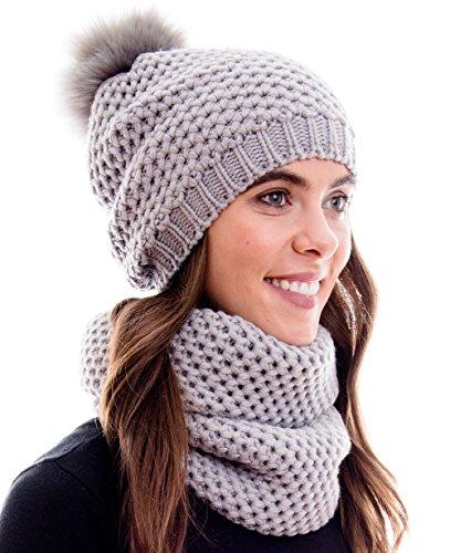 Hilltop Winter Kombi Set aus Winter Schal und passender Strickmütze / Bommelmütze mit Pompon / versch. Farben, Winter Set:1C-hellgrau mit 2 Bommeln