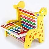 ZMH 1 Set Kids Multifunktion Cartoon Wooden Hirsch Knock Piano-Berechnung Spiel Kinder Früh Pädagogische Abacus Rahmen Spielzeuggeschenk