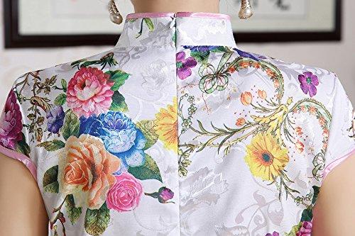 Luck Chionois Qipao Courte Motif Fleur en Coton sans Manche Blanc+Fleur