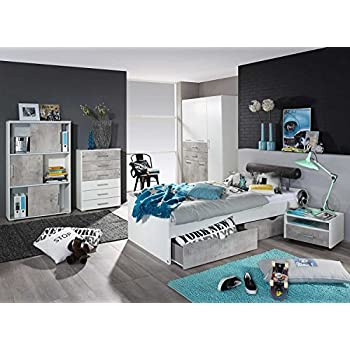 Jugendzimmer 20111 komplett 7 teilig anthrazit wei for Jugendzimmer komplett set jungen