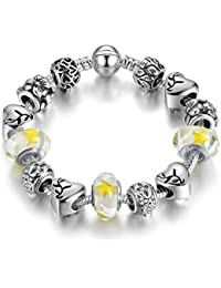 Peora Lemon Yellow Silver Plated Heart Flower Charms Bracelet For Women Girls