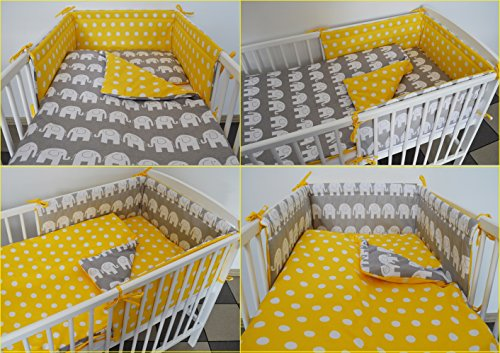 5 pc Baby Bedding Set for COT 120X60 OR COT Bed 140X70cm Inc -Duvet+Pillow+Duvet Cover+Pillow CASE+ Bumper (COT 120X60, Grey Elephant - Yellow with DOTS - Reversible)