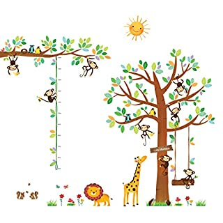 Decowall DA-1401P1402 8 Petits Singes Arboricoles et Ruban Mesureur Autocollants Muraux Mural Stickers Chambre Enfants Bébé Garderie Salon
