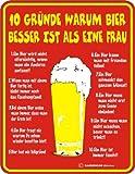 10 Gründe Bier besser Frau Fun - Schild Blechschild 17 x 22 cm