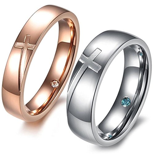 Aooaz Schmuck Unisex Ring,Intarsien CZ Kreuz Edelstahl Ehering Verlobungsringe Silber (Anzug Elvis Kostüme Gold)