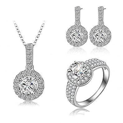 Ohrringe schmuck  AnaZoz Juwelier Damen Schmuck Sets Halskette mit Anhänger,Ohrringe ...