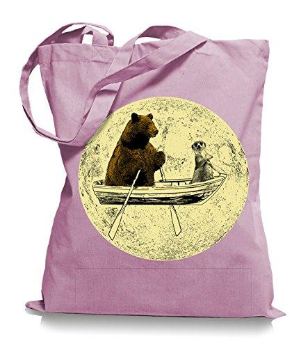 Ma2ca® Bear Moon Stoffbeutel Einkaufstasche Tasche Tragetasche / Bag WM101 Classic Pink