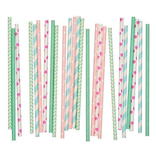 Salong Papierstrohhalme - Trinkhalme aus Papier in vielen Farben - Party-Strohhalme-Mix Rosa-Mint - 25 Stück