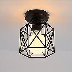 STOEX Plafonnier Industrielle Retro en Métal Cube Fer Noir, Suspension luminaire pour Salon Chambre Café Bar Restaurent Salle à Manger (A)