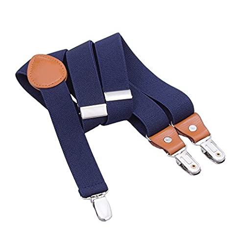 Suspenders for Kids Boys Girls - Adjustable Elastic Y-Back Strong Clips Braces (23.6 Inch (7 Months - 3 Years), Navy