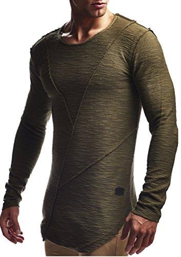 LEIF NELSON Herren oversize Longsleeve Pullover Hoodie Sweatshirt Basic Rundhals Langarm Shirt Hoody Sweater Vintage LN6323 S-XXL; Grš§e XXL, Khaki