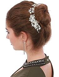 La Modeuse - Bijoude cheveux de fête ou de mariage en forme de fleurs et feuilles, doté de perles et de strass