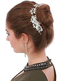 La Modeuse Bijoude cheveux de fête ou de mariage en forme de fleurs et feuilles, doté de perles et de strass