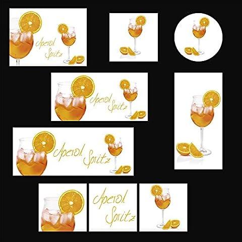 Verre - Image Artland Tableau mural Photographie Manger & Boisson zerbor: Aperol Spritz en un Verre de vin, décoré avec un Disque Orange en Différentes Dimensions - Orange, 60x80 cm / Image en verre