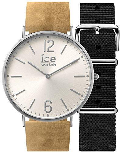 Ice-Watch - CITY Belfast - Montre beige mixte avec bracelet en cuir + bracelet nylon supplémentaire - 001372 (Medium)
