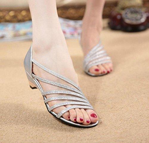 Femmina colore solido tacco basso scarpe vuote, scarpe casual rotonde mamma Silver