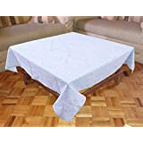"Miyanbazaz Textiles 100% Cotton Light Blue Floral Print Design Square 4 Seater Table Cover/ 60X60"" Tablecloth"