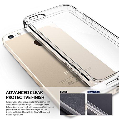 Coque iPhone 5 / 5S, [Ringke FUSION] Ultra Transparente Absorption des chocs Silicone Bumper Protection Goutte Anti-Statique Résistant aux rayures pour Apple iPhone SE / 5S / 5 - Black FUSION-BLACK