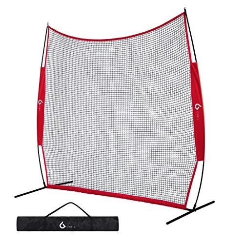 GWELL Tragbares Golf Übungsnetz BxH: 2.13 m x 2.13 m Golfnetz Golf Schlagnetz Trainingsnetz Golfübungsgeräte Faltbar mit Tasche Garten Außenbereich Feld (rot)