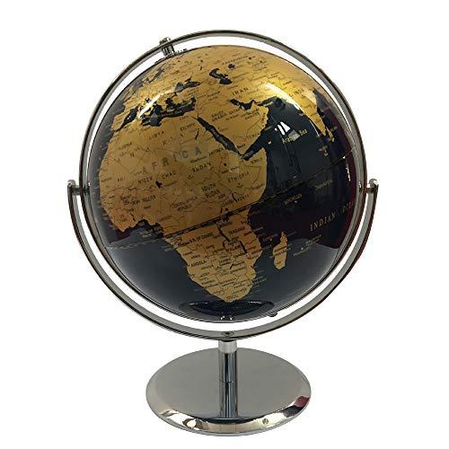 WPFC Weltkugel aus Metall (Durchmesser 23 cm) - Geografie Lernen Metallhalterung - Metallgestell - Mehrere Farben (720 ° -Drehung),Gold