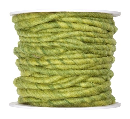 Wollschnur Wollband 5mm Breit hellgrün 10 meter auf der Rolle (Filzband)