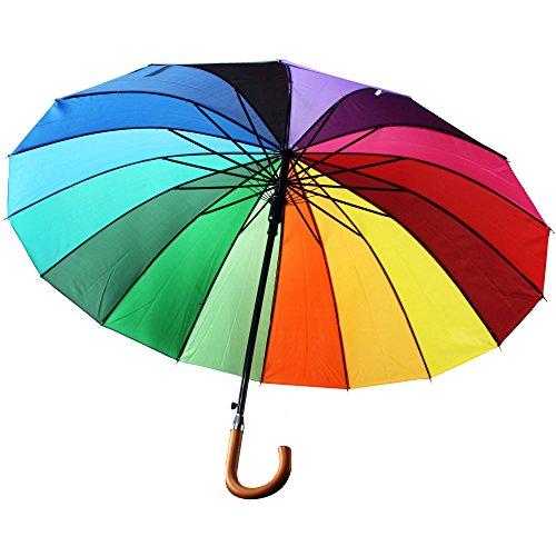 Xl Schirm BUNT Regenbogenschirm Regenschirm Partnerschirm Regenbogen Ø 104cm Damen Partnerschirm Automatik …
