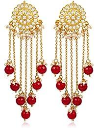 Karatcart Designer GoldPlated Red Pearl Drop Hanging Earring for Women