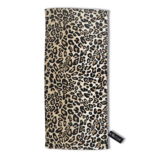 cleaer Classic Leopard Premium Microfiber Hair Towel Super Absorbent Anti-Frizz Hair Towel for Drying Curly Long & Thick Hair 12 X 27.5 inch (30 X 70 cm)