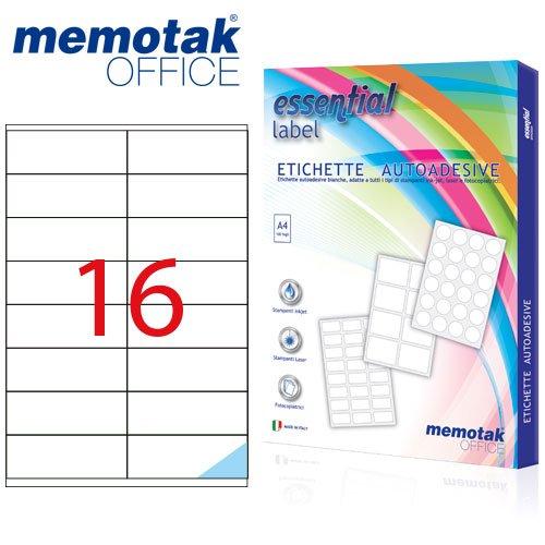 Packung mit 100Blatt A4Etiketten Aufkleber memotak Format in mm 105x 371600Etiketten für Behälter - 1600 Inkjet