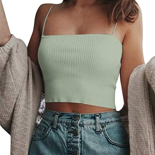 Wawer Damen Top  Frauen-Sommer-reizvoller beiläufiger Sleeveless kurzer T-Shirt Ernte-Oberseiten-Weste-Behälter, Tank Tops Weste Flacher Kragen