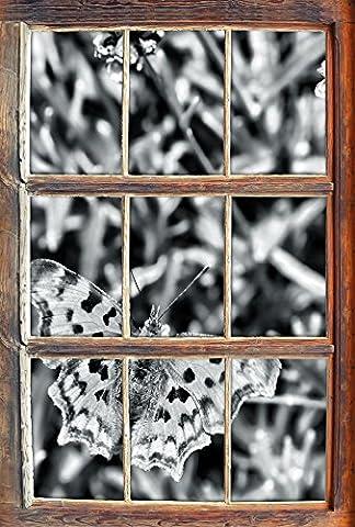 Monocrome, beau papillon sur la prairie de fleursWindows en 3D regarder, taille sticker mural ou de porte: 92x62cm, stickers muraux, sticker mural, décoration murale