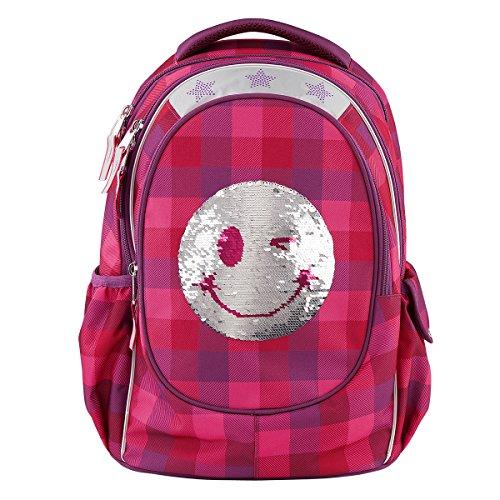 Topmodel Mochila Escolar Lentejuelas Smiley Rojo